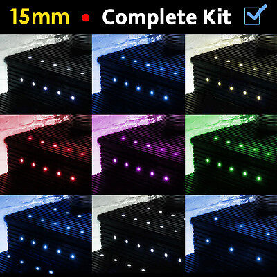 10 / 20 x LED 15mm Round Garden Decking Deck Kitchen Plinth Lights Lighting Kit