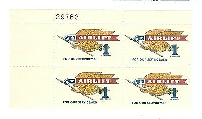 US 1341 Airlift $1.00 1 plate blk of 4 stamps MNH issued 1968 #29763