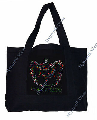"Rhinestone Sturdy Tote Bag with "" Folklorico Dancer "" in Various Color, Bling,"