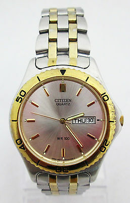 CITIZEN MEN'S QUARTZ SILVER DIAL DAY/DATE TWO-TONE STAINLESS STEEL WATCH *