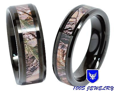 Men & Women's Tungsten Ring Real Oak Camouflage Black Plated Wedding Band Set