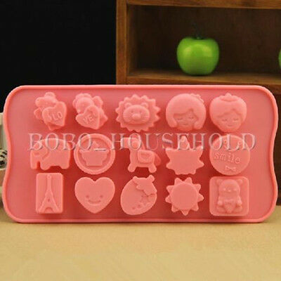 Cartoon Aminal Heart Love Chocolate Cake Cookie Candy Ice Cube Tray Mould Mold