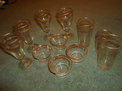 Lot of Vintage  Libbey Finger Bowls and Glases with Gold Trim