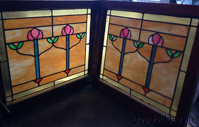 "Beautiful Pair of Stained Leaded Glass Windows from Chicago 2 flower 28"" by 25"""