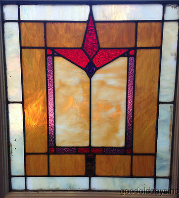 "Antique Stained Leaded Glass Window From a Chicago Bungalow 25"" x 22"""