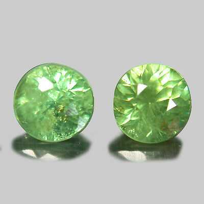 0.36 TCW Attractive Fire Yellowish Green Natural Demantoid Garnet 2Pcs *DSA70