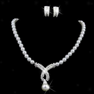 Wedding Bridal Prom Jewelry Set White Pearl Crystal Necklace Studs Earrings
