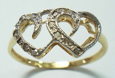 NICE 10KT YELLOW GOLD 6 DIAMONDS HEART RING SIZE 7   R1371