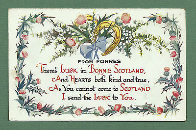 Vintage postcard greetings from scotland 447 picclick uk 2 pretty greeting postcards for forres scotland c1930s lucky heather wishbone m4hsunfo