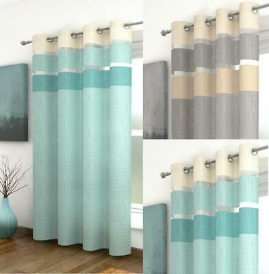 ONE HENLEY STRIPED VOILE EYELET RING TOP CURTAIN PANEL ~ Many Colours & Sizes