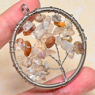 """NATURAL RUTILATED QUARTZ, CYSTAL CRYSTAL 2 1/8"""" TREE OF LIFE WIRE WRAP PENDANT"""