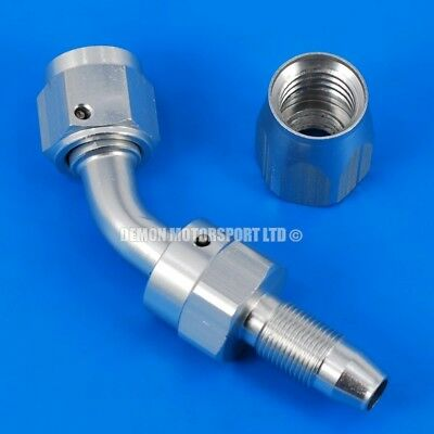 45 Degree Hose Fitting JIC For Braided Hose -6 AN6 6AN (Matt Silver)
