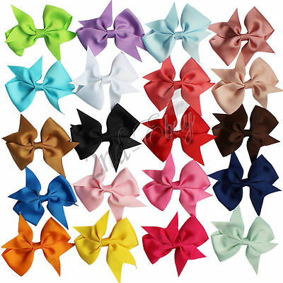 20pcs Boutique Hair Band Bow Girls Baby Alligator Clip Grosgrain Ribbon Headband
