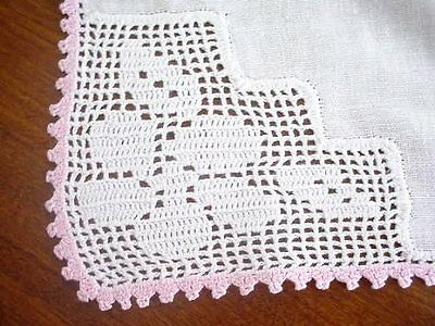 "Vintage Romantic Pink White Crochet Lace On Cotton Runner 16"" X 45"""