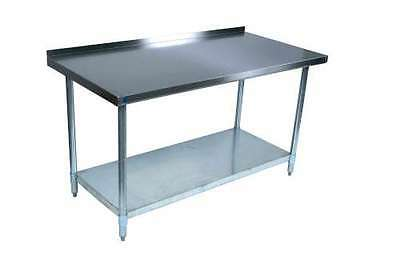 """New Commercial Stainless Steel Work Prep Table 24 x 48 with 2"""" Backsplash"""