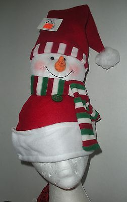 Plush Snowman Hat Red Santa Hat Christmas Holiday Celebration Accessory Cap