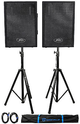 """(2) Peavey PVI10 10"""" 2-Way PA Speakers + (2) Stands + (2) Cables+Bag"""