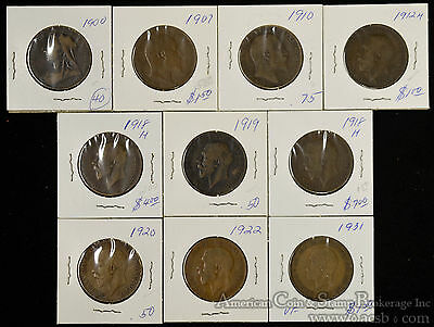 Great Britain 1d Penny 1900-1931 copper Lot 10 coins Edward George IV Victoria.