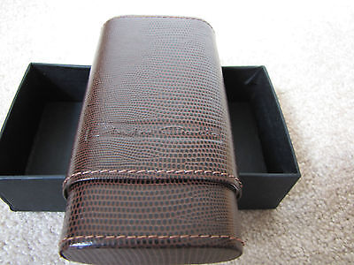 Leather Cigar Case by Andre Garcia - Brown Lizard - Cedar Lined - New