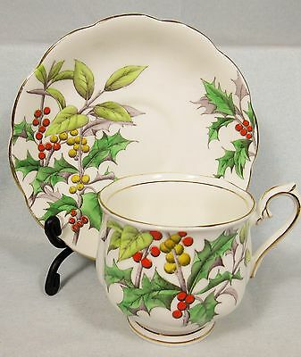 "VINTAGE 1930'S ROYAL ALBERT ""HOLLY"" FLOWER OF THE MONTH BONE CHINA CUP & SAUCER"