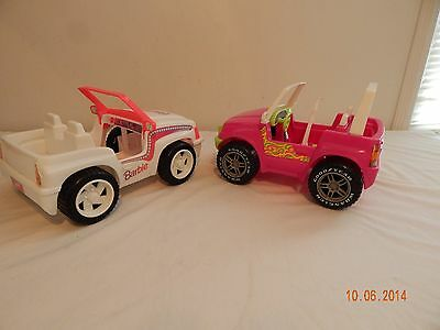 Lot of 2 barbie Jeep PINK WHITE pair 1999 1994  Mattel