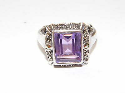 925 Sterling Silver Amethyst and Marcasite Ring Signed EAS Size 7
