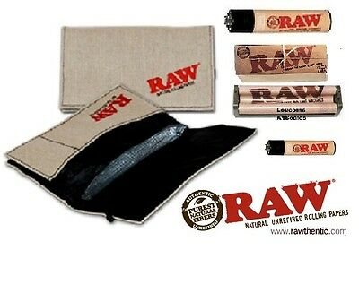RAW SMOKERS POUCH WALLET BUNDLE Rolling Papers,79mm Roller Machine + 2 Lighters!