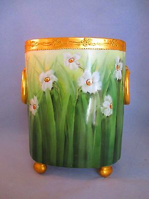 "Rare Exquisite Early 1900s Footed LIMOGES JONQUIL VASE LARGE 10.5"" SIGNED Exclnt"