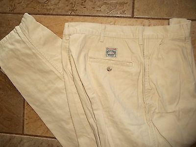 Polo Ralph Lauren Cream Reverse Pleated Khaki Chino Pants Mens 34 X 257 Made USA