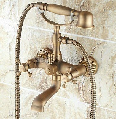 Vintage Antique Brass Clawfoot Bathroom Tub Faucet Tap W/ Hand Shower Ftf121 c
