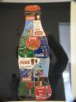 RARE FRAMED 1950-1990 COCA COLA BOTTLE PUZZLE 13 PIN COLLECTION