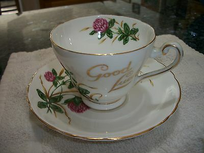"Vintage Tuscan Bone China ""Good Luck"" Floral Pattern Cup & Saucer - No Reserve"