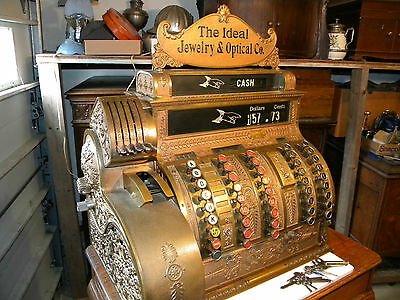 1908 National Cash Register NCR #455 Top Sign Ideal Jewelry & Optical Co NICE!!