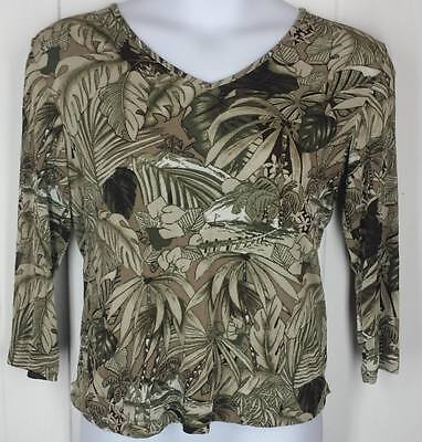 Chico's Travelers green floral tropical print slinky v-neck shrit top size 1 M