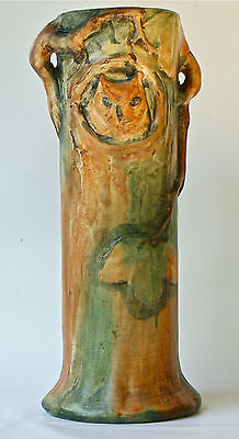 "Weller WOODCRAFT 13 1/2"" OWL in the TREE ROUND MRKD VASE Circa 1920's SHARP MOLD"