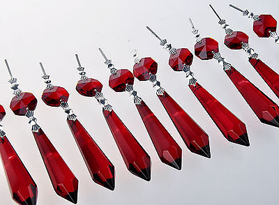 10 Red Chandelier Glass Crystal Lamp Prisms Parts Hanging Drops Pendants 55mm