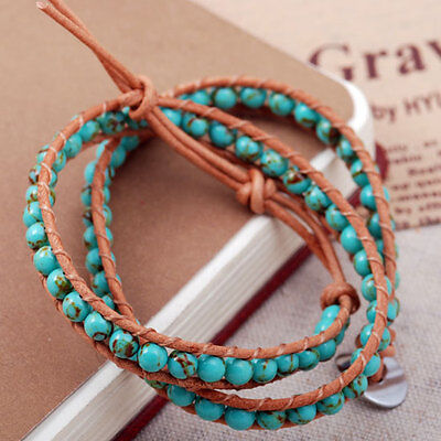 green howlite turquoise bead 6mm tan cord braided wrap bracelet double strand