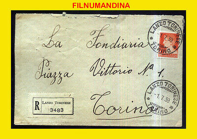 DD-281 ITALY 1939 OLD REGISTERED COVER LANZO-TORINO 1,75 LIRE ALONE
