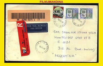 DD-289 ITALY-ARGENTINA 1996 REGISTERED COVER 2000 LIREx2+ 650 LIRE