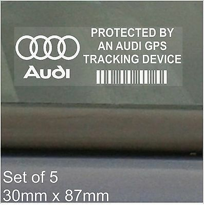 5 x Audi GPS Tracking Device Security Stickers- A1 A2 A3 A4 Q7 Car Alarm Tracker