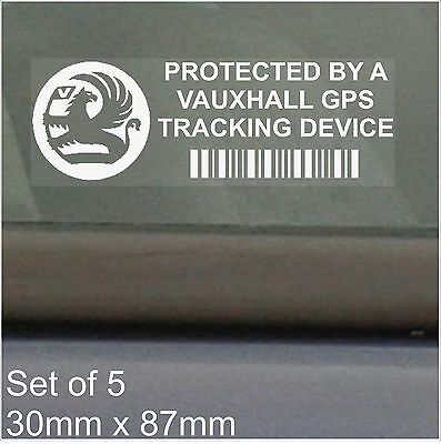 5 x Vauxhall GPS Tracking Device Security Stickers-Astra Corsa Car Alarm Tracker