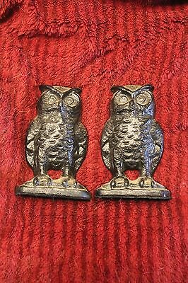 PAIR OLD CAST IRON OWL BOOKENDS MARKED EMIG 1546 DOORSTOPS