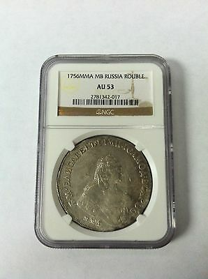 RUSSIA 1756 MMD ELIZABETH RUSSIAN SILVER ROUBLE NGC AU 53 ONLY ONE GRADED RARE!