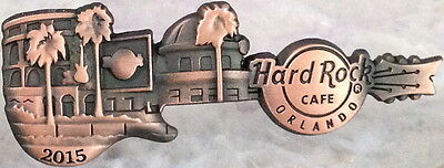 Hard Rock Cafe ORLANDO 2015 Cafe/Live FACADE GUITAR PIN Mint New Antiqued COPPER