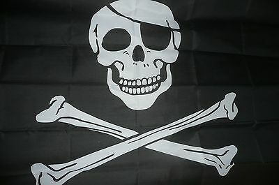 3' x 5' ft.  PIRATE FLAG SKULL AND CROSS BONES WITH EYE PATCH  Grave digger type