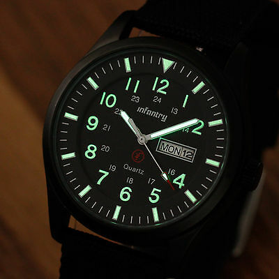 Night Vision INFANTRY Police Army Mens Date Day Quartz Sport Wrist Watch Black