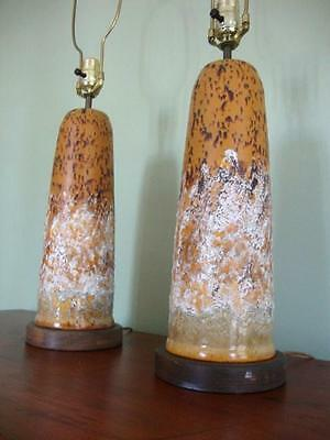 PAIR MID CENTURY MODERN ABSTRACT POTTERY LAMPS ~CIRCA 1950's-1960's~WALNUT BASES