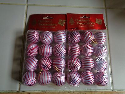 24 RED AND WHITE STRIPED MINI CHRISTMAS ORNAMENTS - UNOPENED IN ORIGINAL PACKAGE