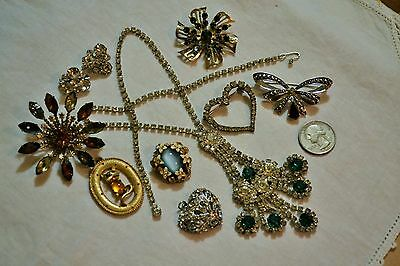 Beautiful Vintage Lot of Rhinestone Jewelry Necklace and Pins Nice Lot