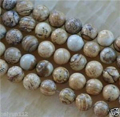 """Natural 6mm round Chinese Picture stone gems loose beads 15"""" ##re3"""